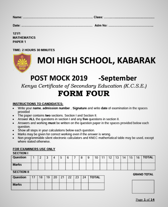 Kabarak Post-Mock 2019 Mathematics Paper 1 and 2 Combined with Marking Schemes