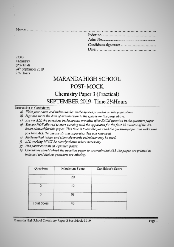Maranda High School Post-Mock Form 4 Chemistry Paper Three