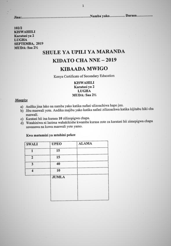 Maranda High School Post-Mock Form 4 Kiswahili Paper 2 ( September 2019)