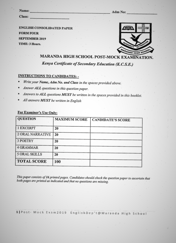 Maranda High School September Form 4 English Paper 2 (September 2019)