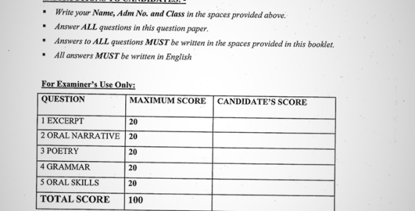 Maranda High School September Form 4 English Paper 2 (September 2019)