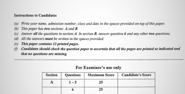 Maranda High School Form 4 Geography Paper Two (September, 2019)