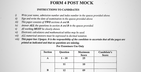 Maranda High School Post-Mock Form 4 Physics Paper 2 ( September, 2019)