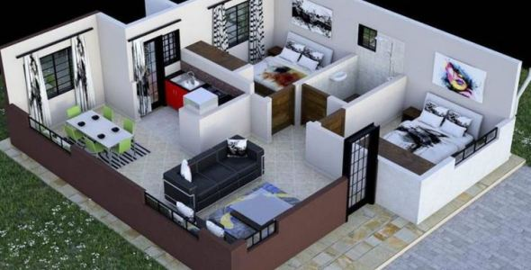 2 Bedroom house plan in Kenya
