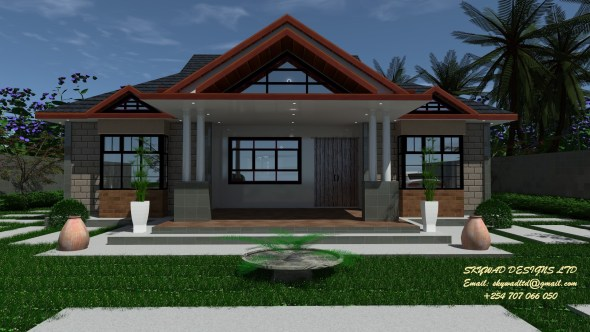 Elegant Three Bedroom Bungalow Design in Kenya