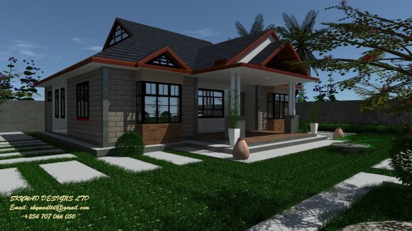 Elegant Three Bedroom Bungalow hpuse plan in Kenya
