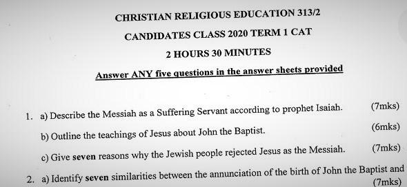 Maranda High School CRE Paper 2 Mid-Term 1 2020 Past Paper