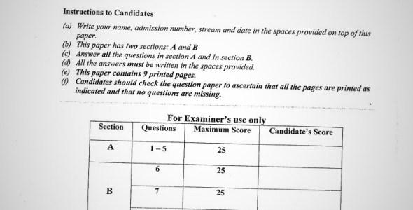 Maranda High School Geography Paper 2 Mid-Term 1 2020 Past Paper