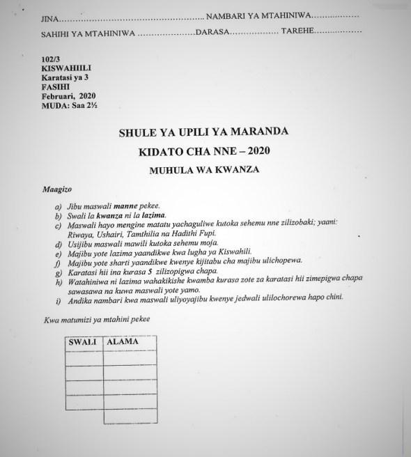 Maranda High School Kiswahili Paper 3 Mid-Term 1 Form 4 2020 Past Paper