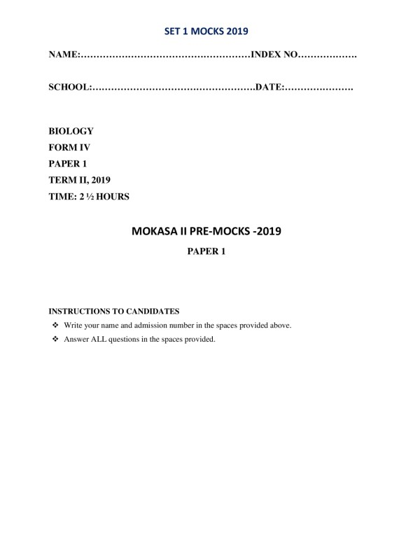 Biology Paper 1 Mokasa Pre-Mock 2019 ( with answers)