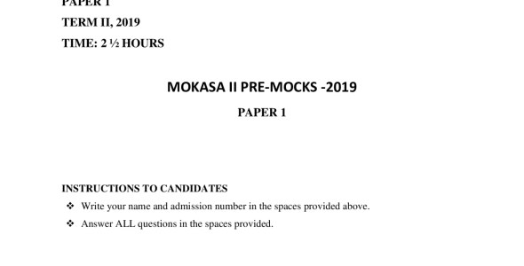 Biology Paper 1 Mokasa Pre-Mock 2019 ( with answers)