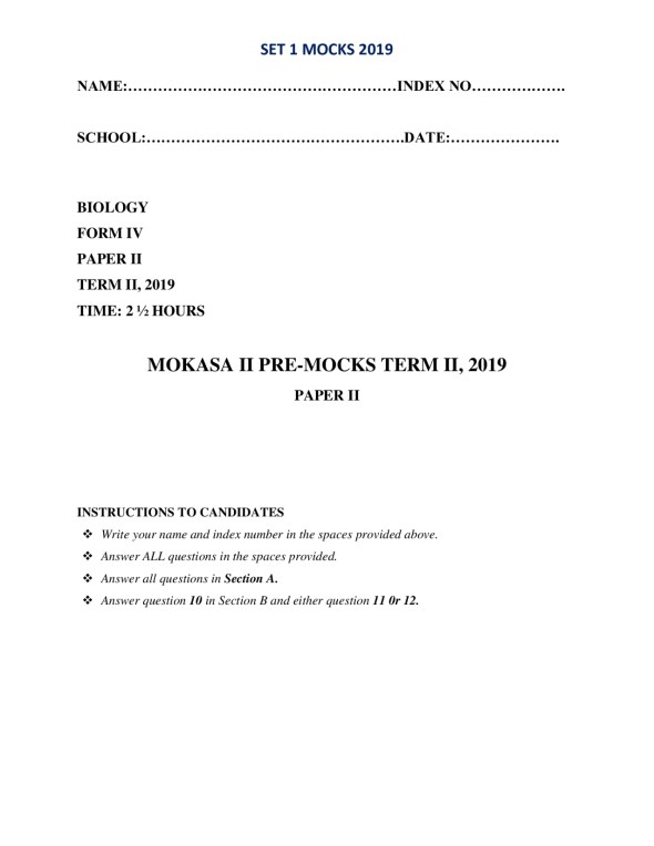 Biology Paper 2 Mokasa Pre-Mock 2019 (with answers)