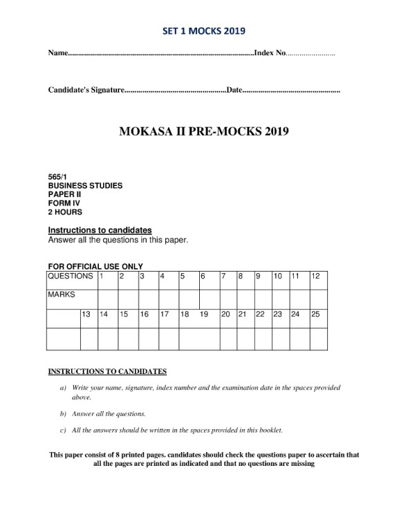 Business Studies Paper 1 Mokasa Pre-Mock 2019 (with answers)
