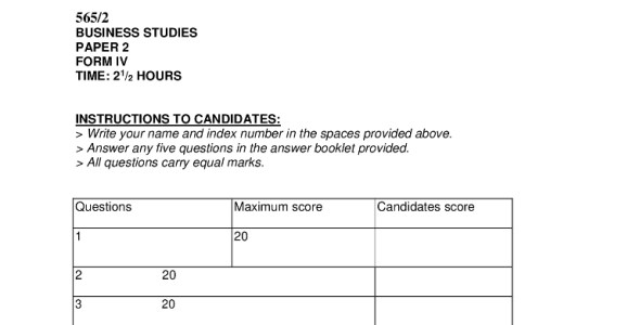 Business Studies Paper 2 Mokasa Pre-Mock 2019 (with answers)