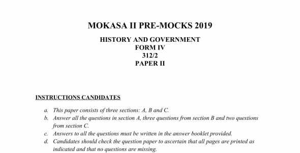 History Paper 2 Mokasa Pre-Mock 2019 (with answers)
