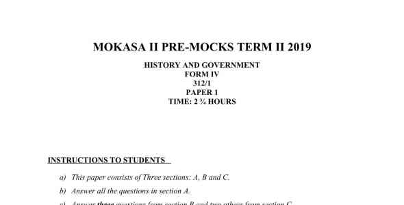 History Paper 1 Mokasa Pre-Mock 2019 (with answers)