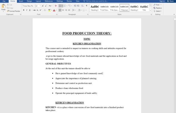 Food Production Theory Notes