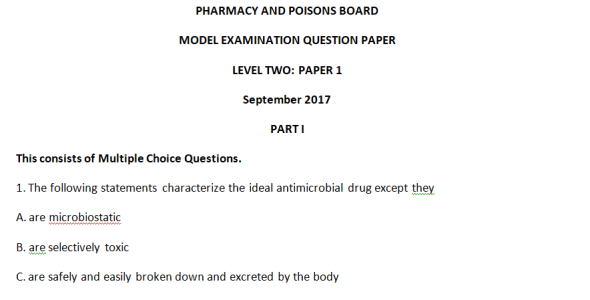 Pharmacy and Poisons Board Model Exam Level Two Paper 1, 2017