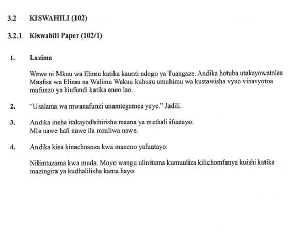 KNEC KCSE 2019 Kiswahili Paper 1 (Past Paper with Marking Scheme)