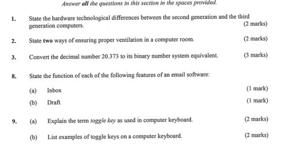 KNEC KCSE 2019 Computer Studies Paper 1 (Past Paper with Marking Scheme)