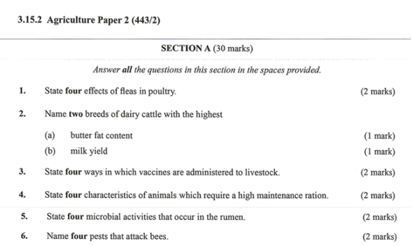 KNEC KCSE 2019 Agriculture Paper 2 (Past Paper with Marking Scheme)