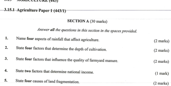 KNEC KCSE 2019 Agriculture Paper 1 (Past Paper with Marking Scheme)
