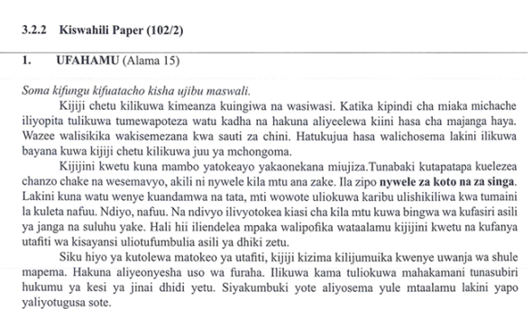KNEC KCSE 2019 Kiswahili Paper 2 (Past Paper with Marking Scheme)