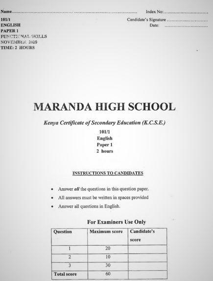 Maranda Pre-Mock English Form 4 Paper 1 (2020 Past Paper)