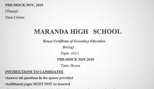 Maranda Pre-Mock Biology Form 4 Paper 1 (2020 Past Paper)
