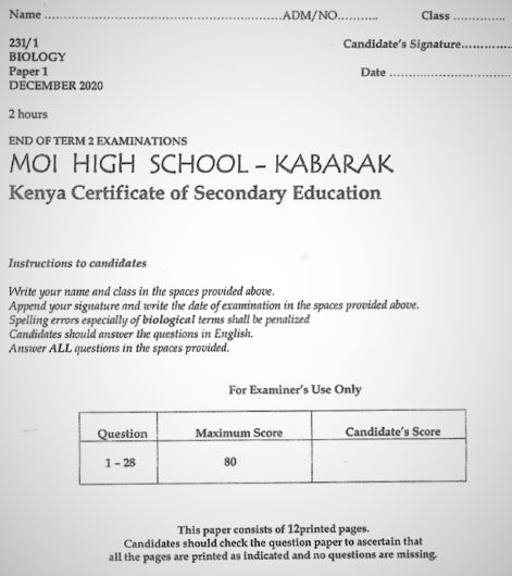 Moi High School Kabarak Biology Paper 1 Mock 2020 Past Paper