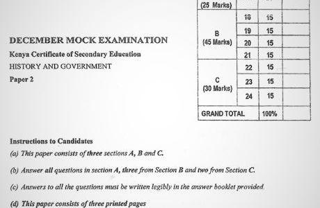 Moi High School Kabarak History & Government Paper 2 Mock 2020 Past Paper