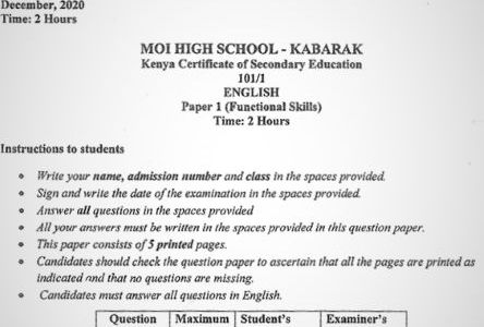 Moi High School Kabarak English Paper 1 Mock 2020 Past Paper