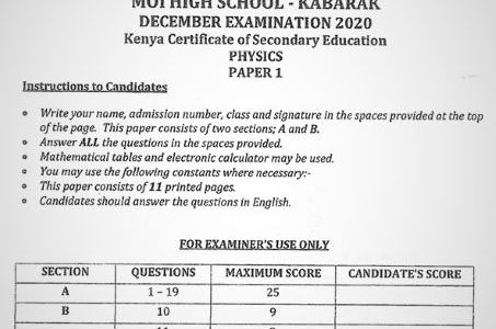 Moi High School Kabarak Physics Paper 1 Mock 2020 Past Paper