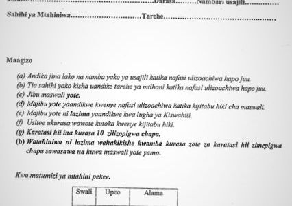 Moi High School Kabarak Kiswahili Paper 2 Mock 2020 Past Paper