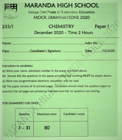 Maranda Mock Chemistry Paper 1 2020 (With Marking Scheme)