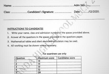 Maranda Mock Chemistry Paper 2 2020 (With Marking Scheme)