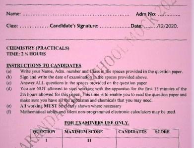 Maranda Mock Chemistry Paper 3 2020(With Marking Scheme)