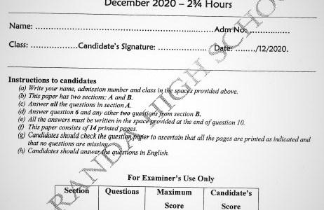 Maranda Mock Geography Paper 2 2020 (With Marking Scheme)