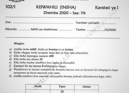 Maranda Mock Kiswahili Paper 1 2020 (With Marking Scheme)
