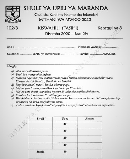 Maranda Mock Kiswahili Paper 3 2020 (With Marking Scheme)