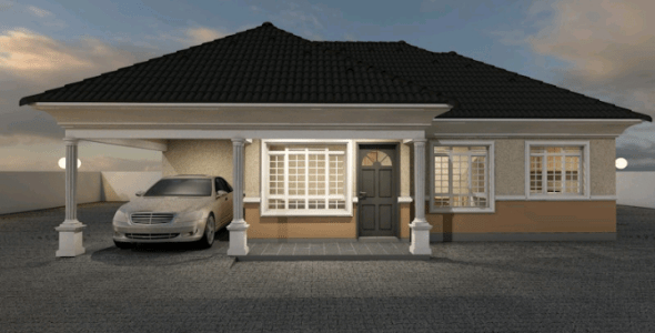 Modern 3 Bedroom Bungalow House Plan