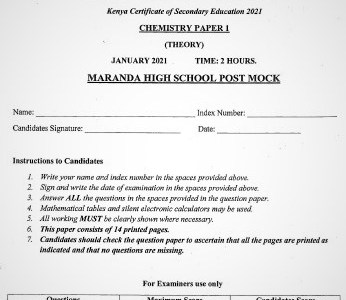 Maranda Post-Mock Chemistry Paper 1 2021 (With Marking Scheme)