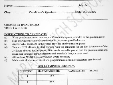 Maranda Post-Mock Chemistry Paper 3 2021 (With Marking Scheme)