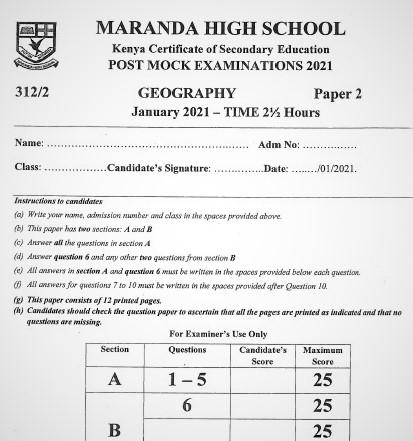 Maranda Post-Mock Geography Paper 2 2021 (With Marking Scheme)
