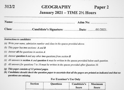 Maranda Post-Mock Geography Paper 2 2021 (With Marking Scheme)