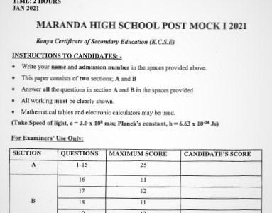 Maranda Post-Mock Physics Paper 2 2021 (With Marking Scheme)
