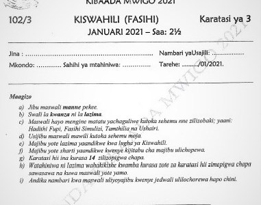 Maranda Post-Mock Kiswahili Paper 3 2021 (With Marking Scheme)