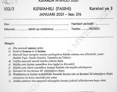 Maranda Post-Mock Kiswahili Paper 3 2021 (With Marking Scheme)
