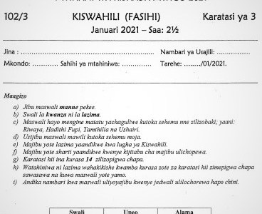 Maranda & Kisii Joint Post-Mock Kiswahili Paper 3 2021 (With Marking Scheme)