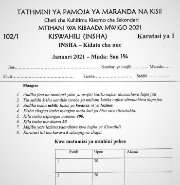 Maranda & Kisii High Joint Post-Mock Kiswahili Paper 1 2021 (With Marking Scheme)
